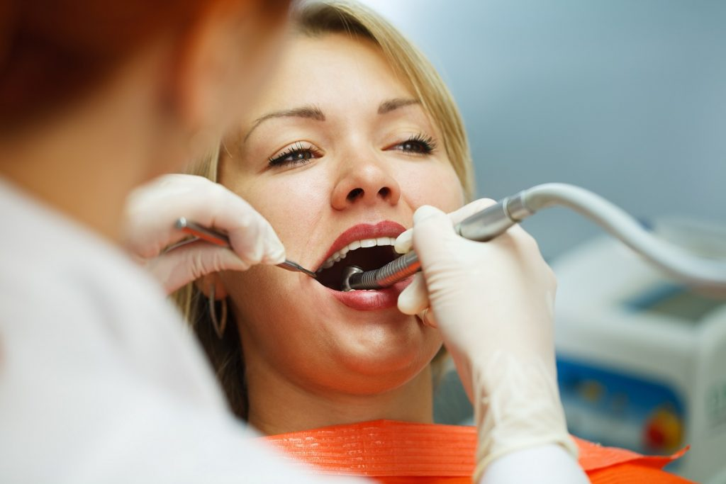 Woman having a dental treatment
