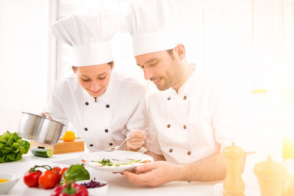 Professional chefs cooking together
