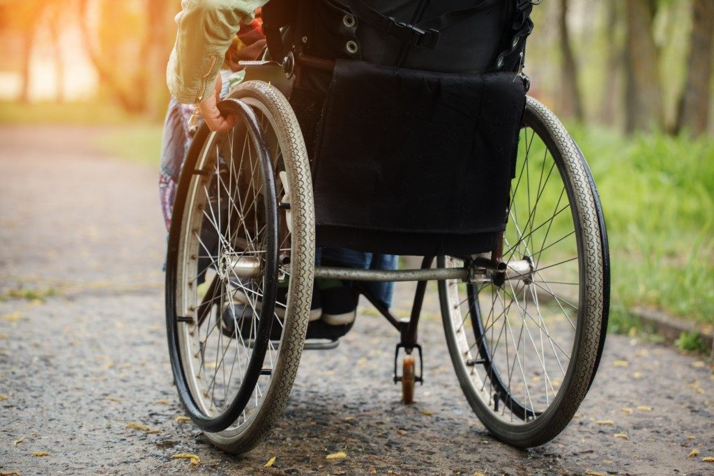 Photo of a wheelchair in the park