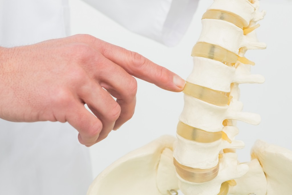 Doctor pointing at spine