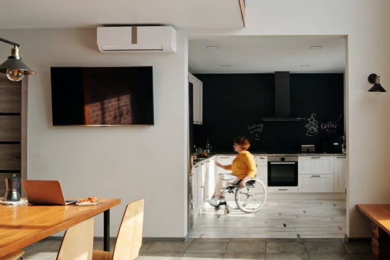 woman in a wheelchair in the kitchen