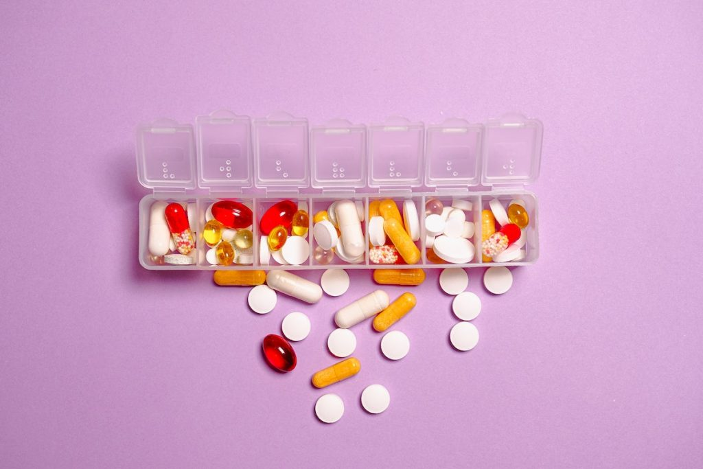 Medicines in a pill organizer
