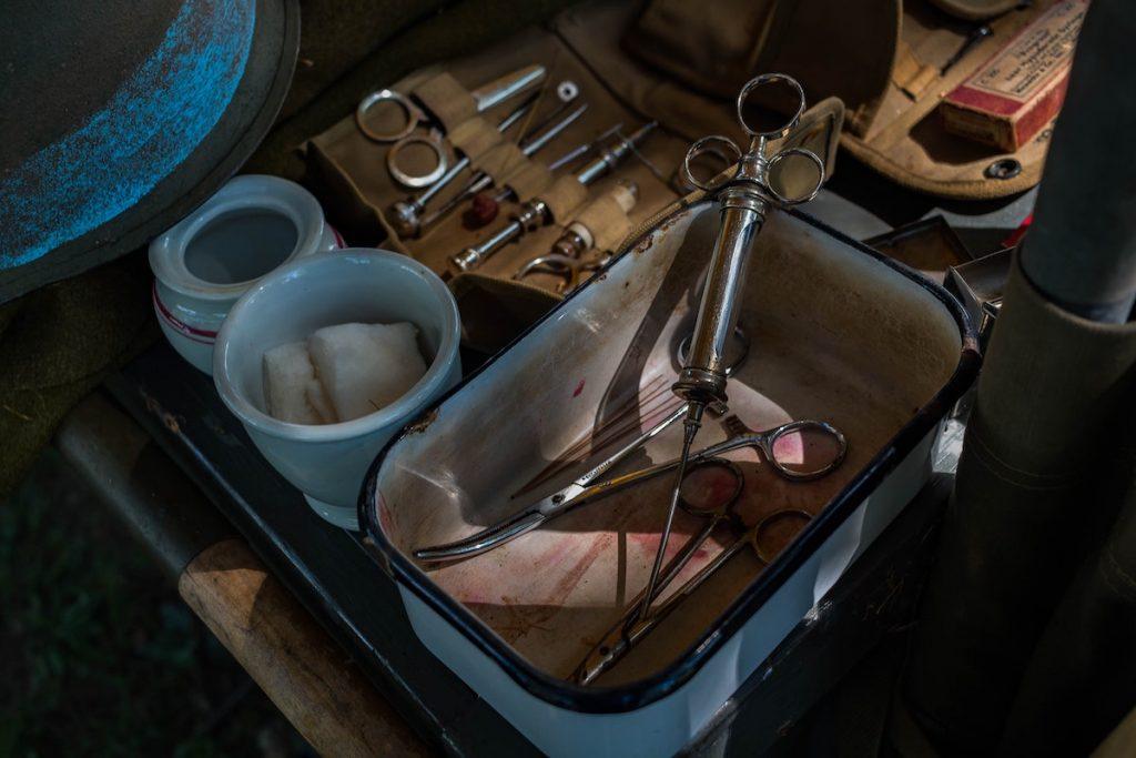 medical tools on a cart
